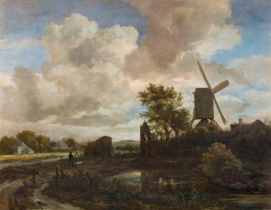 Jacob van Ruisdael, Evening Landscape a Windmill by a Stream, c1650.jpg